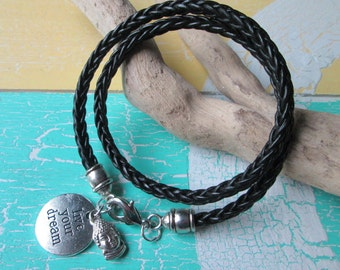 Leather-Bracelet with Charms*Buddha*Live your dream*Hippie Style