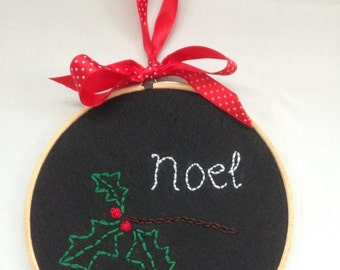 SALE Christmas Decoration, Xmas Holly art, Hand embroidered hoop, Pretty Noel artwork, Stitched chalkboard art, December decor