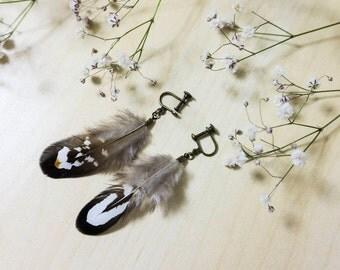 Beautiful feather earrings (for unpierced ears) + FREE shipping