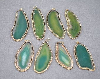 3PCS Green Agate Slice Gemstone Druzy Pendant, with Lt.brown Crystal Rhinestone Paved Agate Pendant, For Jewelry Making