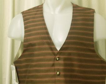 Brown, Taupe & Burgundy Stripe Silk Victorian/Western/Steampunk Single Breasted Vest, Size 46R