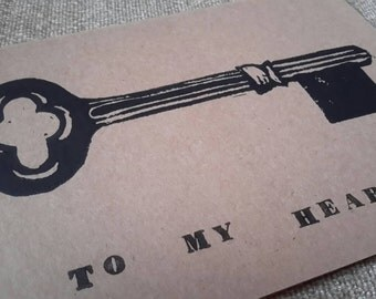 Note Card - Blank Card - Skeleton Key - Key to My Heart - Linocut - 5x7 - Love - Valentine's Day