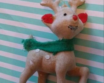 Vintage kitsch flocked bambi deer ornament 1960s