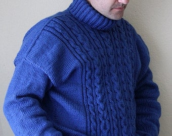 Sweater. Blue yarn sweater. Men's sweater. Hand knitted sweater. Hand knit. Irish Clan. Handmade. Christmas sweater. MADE TO ORDER.