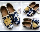 Sun and Moon Painted TOMS, Women's shoes, Celestial print, navy sun clouds stars, women's toms, hand painted, wearable art