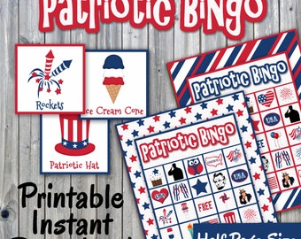 Patriotic Bingo Printable PDF - 30 different Cards - Half Page Size - Memory Game - Party Game Printable - INSTANT DOWNLOAD