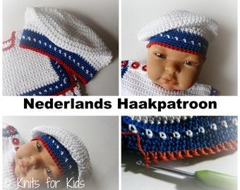Nederlands Haakpatroon Baby Baret Sailor 0 - 12 mnd
