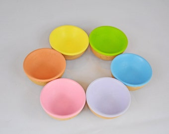 Pastel Sorting Bowls - A Waldorf and Montessori Inspired Wooden Educational Spring Toy - Easter Basket Toy - Montessori Sorting Bowls