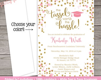PRINTED Graduation Invitation - Pink and Gold Graduation invitation - Senior Invitation - Class of 2016 - Graduation-106