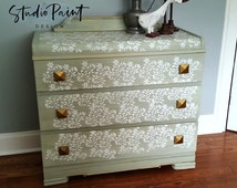 "Stenciled Painted Waterfall Three Drawer Dresser Miss Mustard Seed Milk Paint ""Layla's Mint"" Colour gold gilding Baby Dresser"