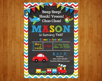 Transportation Birthday Invitation Cars, Planes, Trucks Birthday Invitation Transportation chalkboard digital file customized for you