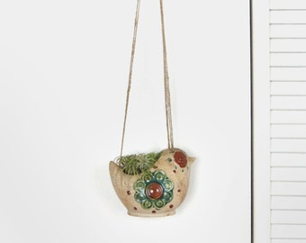 Bird Hanging Planter | Vintage Bird and Floral Macrame Plant Hanger and Pot Holder in beige Green & Brown | Woodland Rustic Home Decor