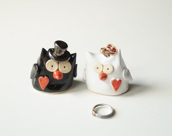 Owl Wedding Cake Topper, Wedding Cake Topper, Ceramic Owl, Ceramic Cake Topper by Her Moments