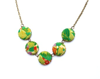 Green Leaf Kimono Necklace, Fabric Necklace, Vintage Kimono, Button nead Necklace, Japanese Kimono Jewellery