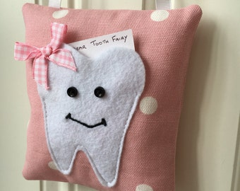 Girls Pink Spotty Tooth Fairy Pillow