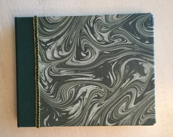 Handbound Journal in Dark Green Bookcloth with Handmade Marbled Paper