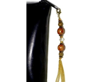 Wood Bead Zipper Pull With Chain Tassel, Crystal Bead Swag, Purse Embellishment, Clutch Adornment, Hand Bag Bling, Crystal Zipper Pull Charm