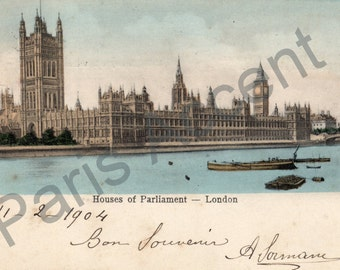 Vintage Postcard of Houses of Parliament London,Circulated 1904, One Penny stamp