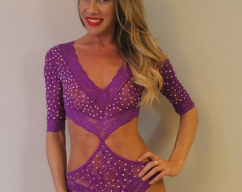 Purple Lace Bodysuit with Cutout & Rhinestones
