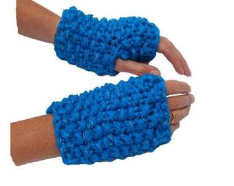 GlowBeanie Moss Wrist Warmers - the gloves that glow in the dark - handmade with refelctive yarn