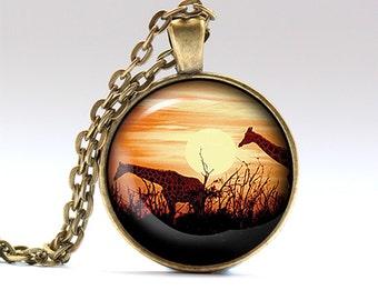 Giraffe chain Animal necklace Sunset pendant RO219