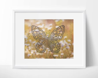 Instant Digital Download - Shabby Chic Antique Butterfly on White Daisy Background - Wall Art - Digital Art