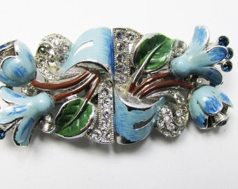 Vintage 1930s Signed Coro Floral Enamel and Rhinestone Duette Converts to Fur Clips