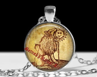 Lion devouring the Sun necklace, alchemical illustration, alchemy pendant, witchcraft, magick gift, occult symbol, magic picture #281.2