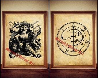 32 Asmoday demon seal print, Goetia sigil poster, Lemegeton demon art, The Lesser Key, occult, ritual, summoning demons canvas #104.32