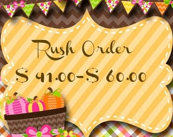 ON SALE Rush Order for up to 60.00 Dollars