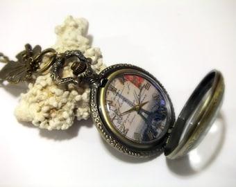 Pocket watch necklace PARIS