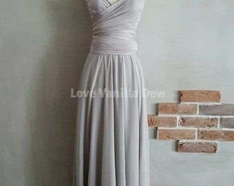 Bridesmaid Dress Infinity Dress Light Grey with Chiffon Overlay Floor Length Maxi Wrap Convertible Dress Wedding Dress