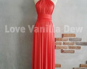 Bridesmaid Dress Infinity Dress Coral Floor Length Maxi Wrap Convertible Dress Wedding Dress