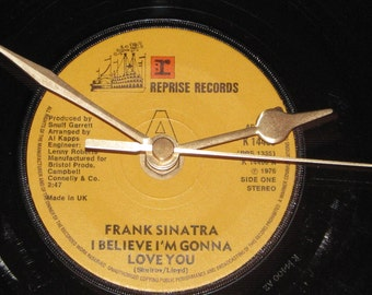 "Frank Sinatra i believe i'm gonna love you  7"" vinyl record clock"