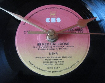 "Nena 99 red ballons   7"" vinyl record clock"
