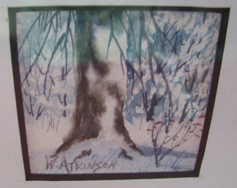 Watercolor by W. Atkinson, framed and matted