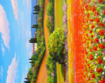 Big Italian painting red flowers field poppies Tuscany landscape original oil M.Bendinelli Italy Tuscany