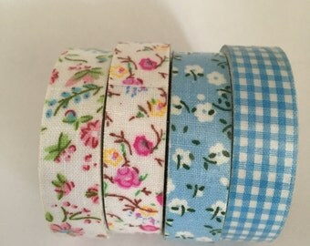 4 Rolls Cotton Fabric Adhesive Tape Decorative Blue Cream Floral Gingham Check