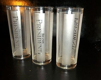 YARD SALE WAS 18.00...Brandy Presidente Frosted Tumbler Set 3