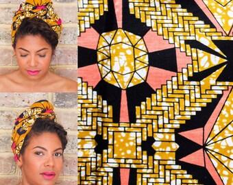 African Black Coral Print head wrap   Ankara Wax print Head wrap   Print headscarf   African wax print material