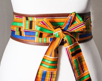 Tan Leather Kente Print Obi Belt l Leather Adinkra Corset Belt | Leather Obi Belt | Tie Belt | Corset Belt | Plus size Accessory | Obi Belt