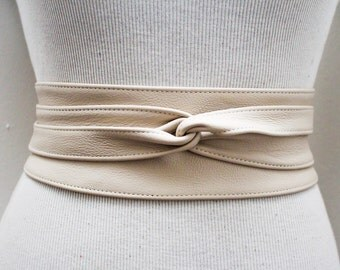Cream Leather Obi Belt | Waist Belt | Obi belt |Leather Belt| Plus Size Belts