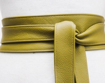 Olive Green Leather Obi Belt | Plus Size Belt | Waist Corset Belt | Real Leather Belt
