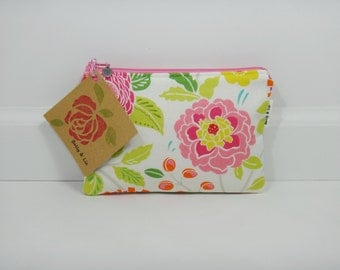 Bohem Garden Small Cosmetic Bag, Small Pouch, Makeup Bag, Small Pouch Purse, Small Cosmetic Pouch, Zipper Pouch, Makeup Pouch