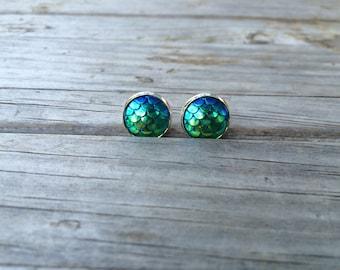 Green Mermaid Stud Earrings, Mermaid Earrings, Nautical, Studs Earrings