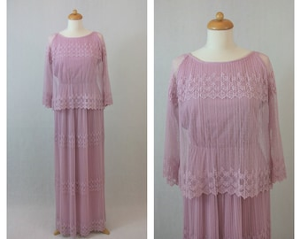 70s vintage lace dress. Maxi dress. Romantic dress. Boho dress. Party dress. Size M.