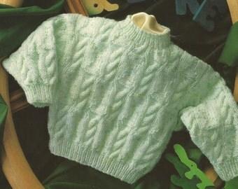 Instant Download - PDF- Beautiful Vintage DK Jumper Knitting Pattern Premature sizes up (77)