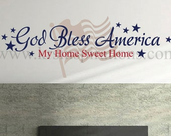 God Bless America Flag Wall Decal