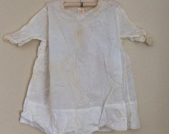 Antique Victorian baby night gown, white baby night gown, baby dress, embroidered baby dress