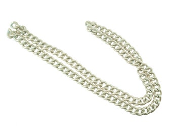 1 feet - WHITE Purse Chain - 15mm Width, Replacement Chain, Chain Strap, Chunky Curb Chain, Chain Handle with Clasp, Layered Chain